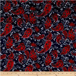 Soft Rayon Jersey Knit Paisley Knit Red