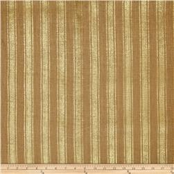 "60"" Metallic Foil Stripe Burlap Natural/Gold"