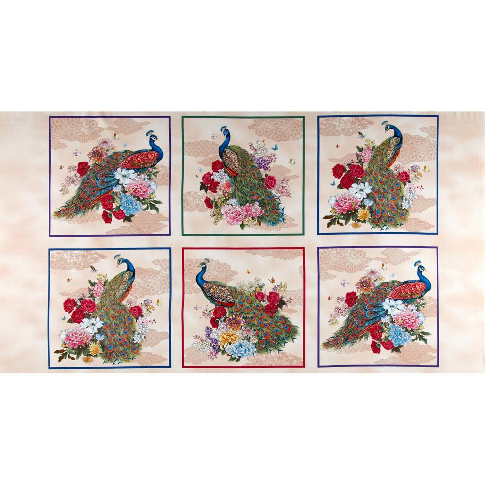 Peacocks Peacock Patchwork Panel Cream