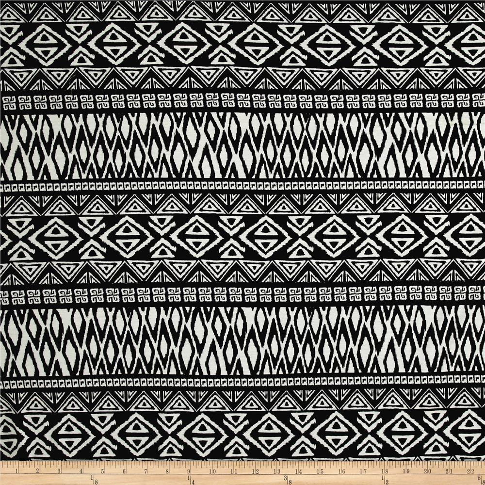 Rayon Spandex Jersey Knit Tribal Triangles Black/White Fabric