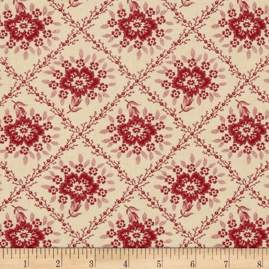 Moda Midwinter Reds Crosshatched Floral Cream/Red