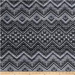 Stretch Jersey Knit Mosaic Aztec Black/White
