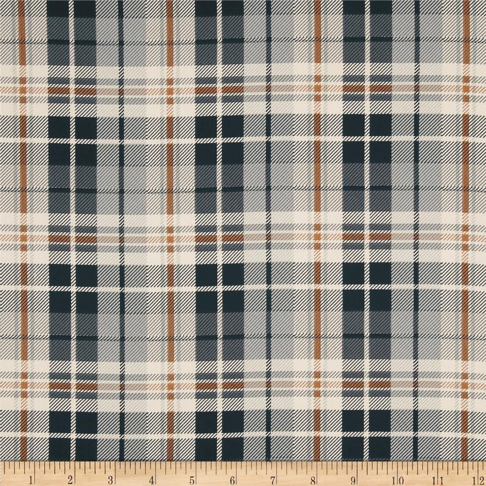 Stretch Satin Charmeuse Plaid Black/Grey