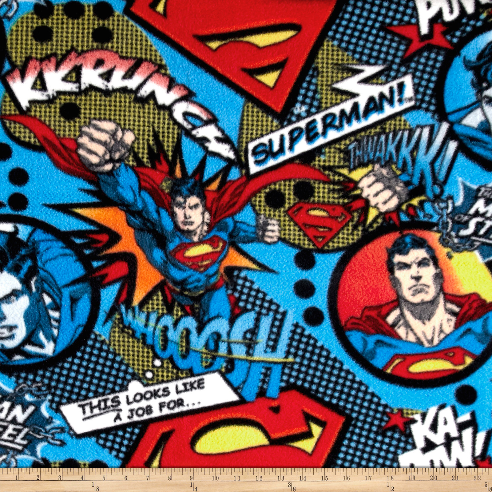 Image of DC Comics A Job For Superman Fleece Multi Fabric