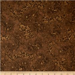 "Essentials 108"" Quilt Back Scroll Espresso Brown"