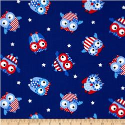 Timeless Treasures Patriotic Owls Blue