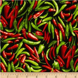 Farmer's Market Chili Pepper Black Fabric