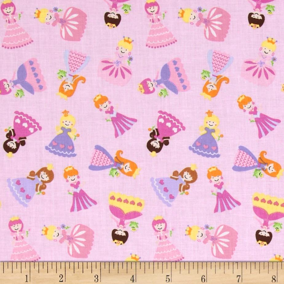 Timeless Treasures Fairy Tale Mini Princess Toss Pink