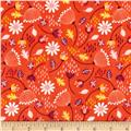 Enchanted Seed Pods Double Gauze Red-Orange
