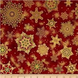 Robert Kaufman Holiday Flourish Metallic Snowflakes Crimson