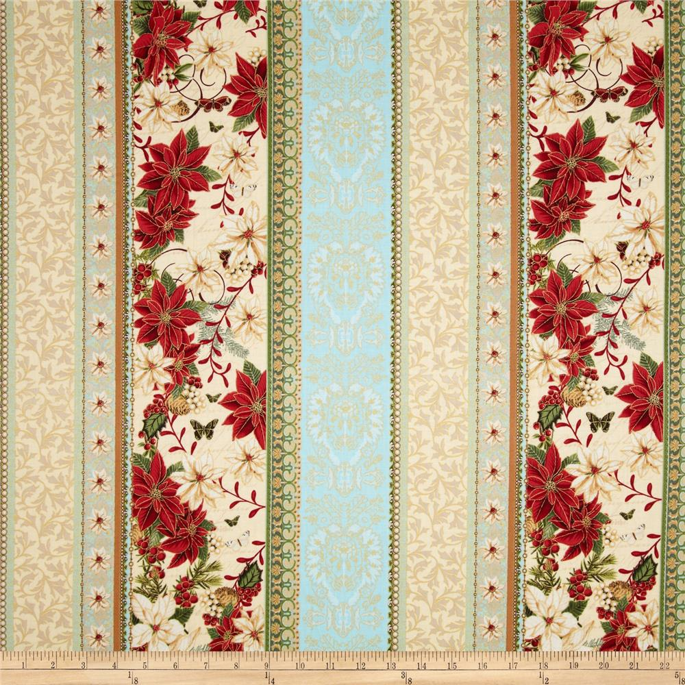 Merry Birds & Snow Globes Border Metallic Sky