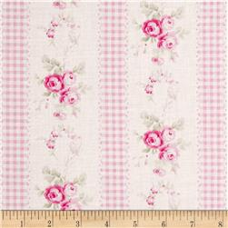 Tanya Whelan Slipper Roses Country Ticking Pink