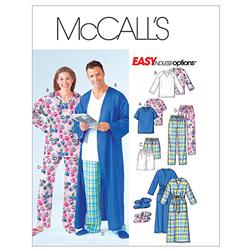 McCall's Misses'/Men's/Teen Boys' Robe, Belt, Tops, Shorts, Pants and Slippers Pattern M4320 Size 0Y0