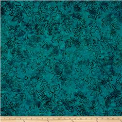 Malam Batiks Ornate Floral Deep Teal