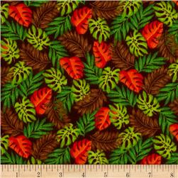 Classic Cottons Jungle Power Flannel Leaves Brown/Orange