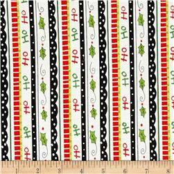 Happy Holly Days Ticking Stripe White