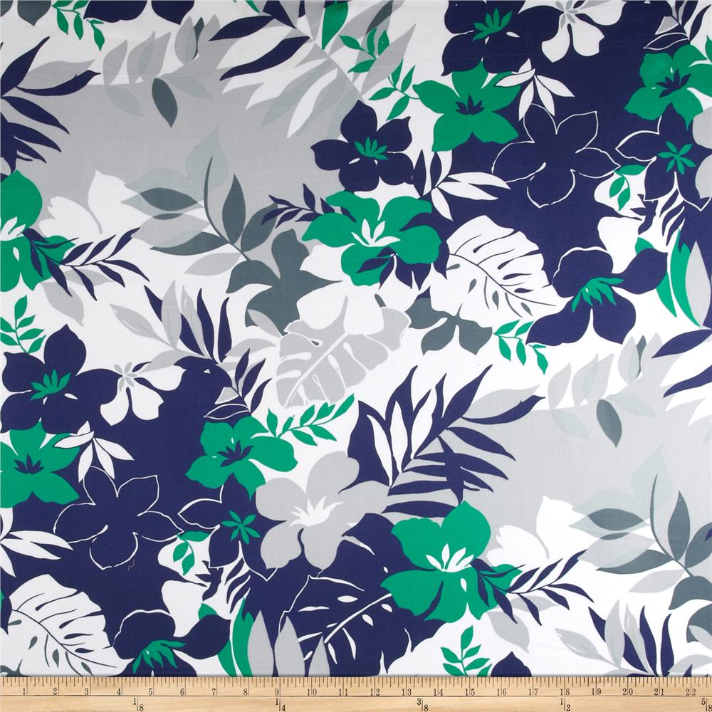 Cotton Stretch Sateen Floral Navy/Green/White/Grey
