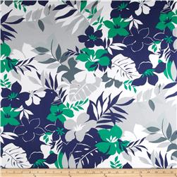 Cotton Stretch Sateen Floral Navy/Green/White/Grey Fabric