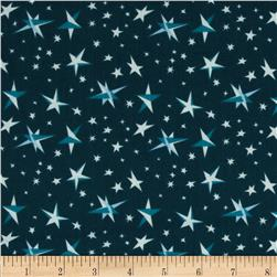 Goodnight Moon Organic Starry Night Blue Fabric
