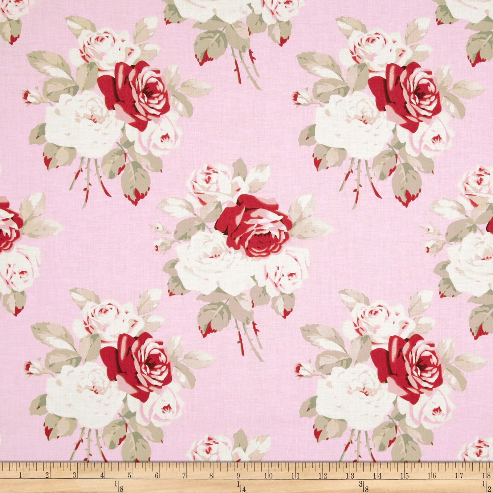 Petal Large Antique Roses Pink Fabric