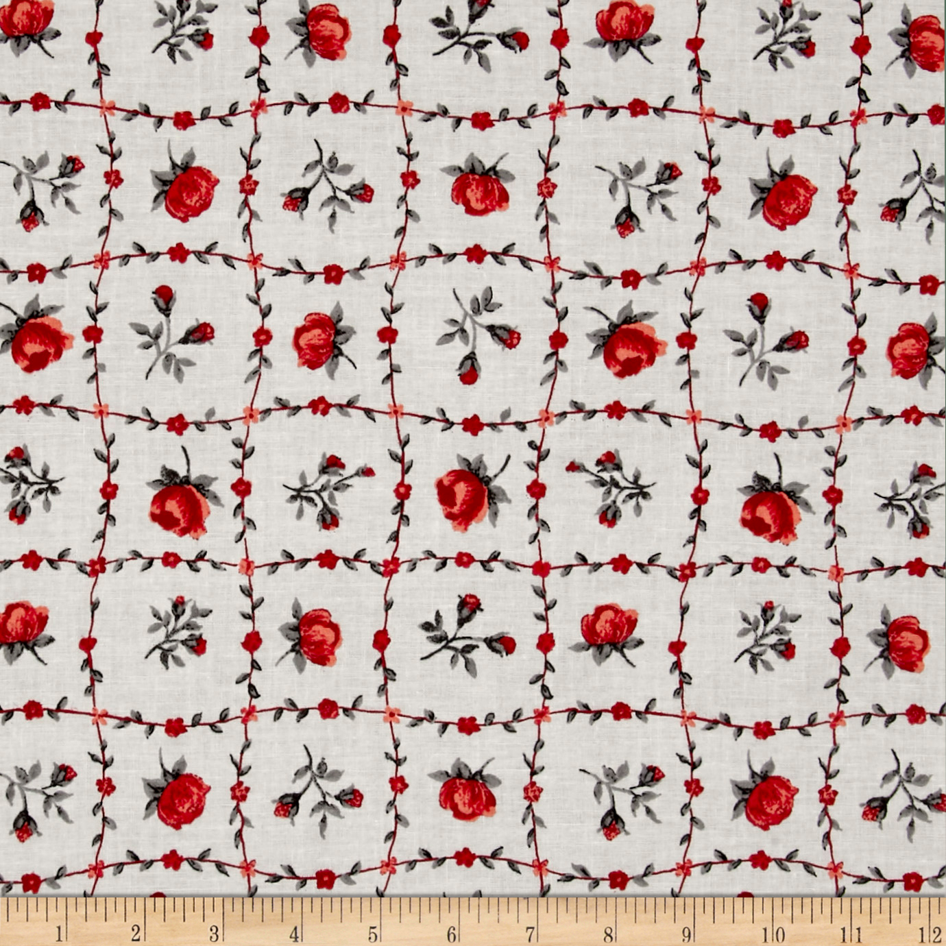 INOpets.com Anything for Pets Parents & Their Pets Botanical Garden Floral Red Fabric