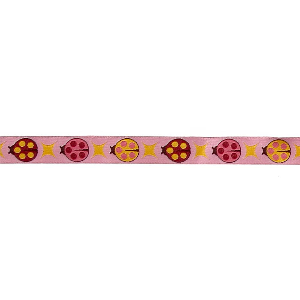 5/8'' Tula Pink Pink Ladybugs Ribbon Fabric By The Yard