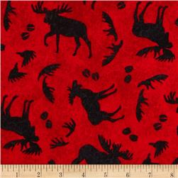 Mountain Lodge Flannel Tossed Moose Red/Black