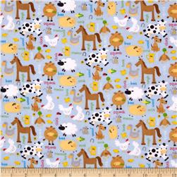 Alpine Flannel Barnyard Blue Fabric