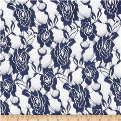 Stretch Floral Lace Dark Blue