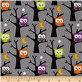 Riley Blake Ghouls & Goodies Owl Gray