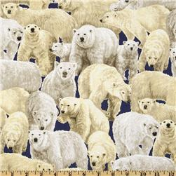 Living Wonders Polar Bears Navy Fabric