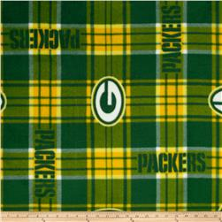 NFL Fleece Green Bay Packers Plaid Green/Yellow Fabric