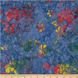 Indonesian Batiks Floral Blue/Orange