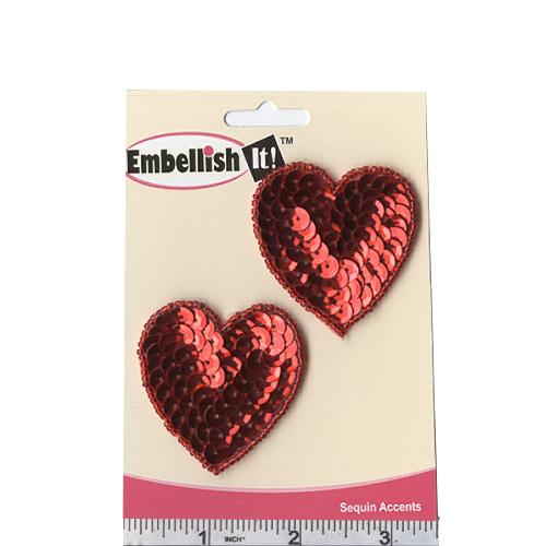 Heart Sequin Applique Pair Red