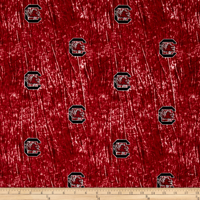 Collegiate Cotton Broadcloth University of South Carolina Tie Dye Print Burgundy Fabric by Sykel in USA