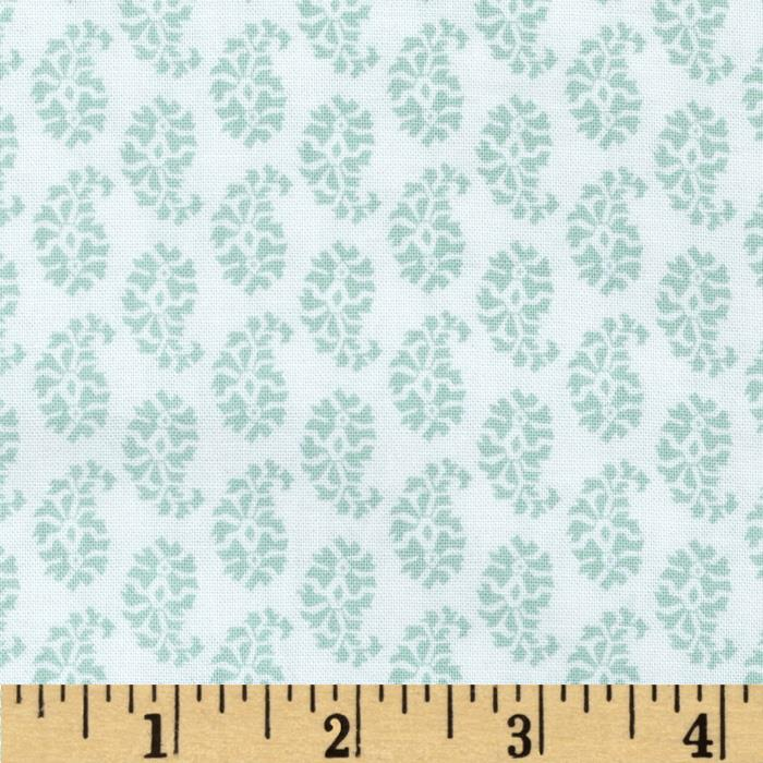 Joyful Leaf Paisley White/Teal
