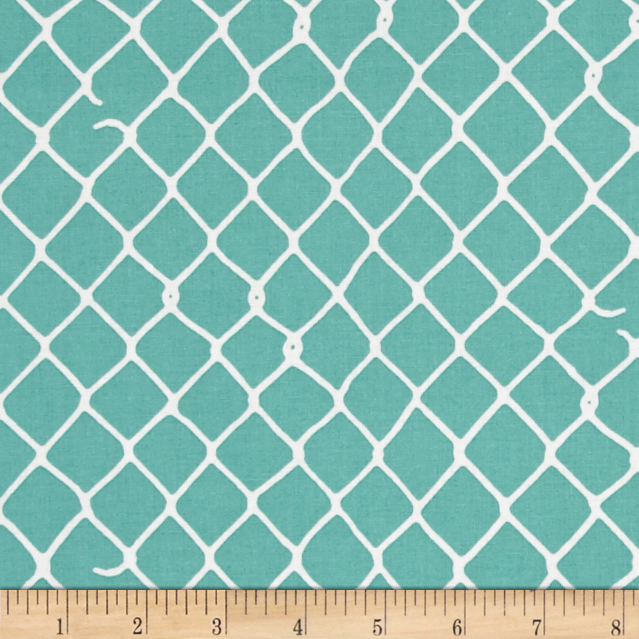 Image of Grafic Chain Link Fence Aqua Fabric
