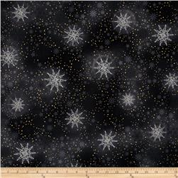 Robert Kaufman Radiant Holiday Metallic Snowflakes Black