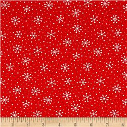 Moda Red Dot Green Dash Snowflakes Dots Poinsettia Red
