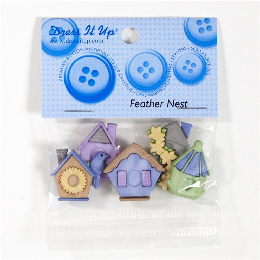 Dress It Up Embellishment Buttons Feather Nest