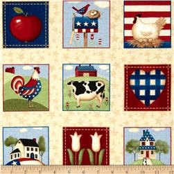 Little Bit of Country Patriotic Squares Tan/Multi
