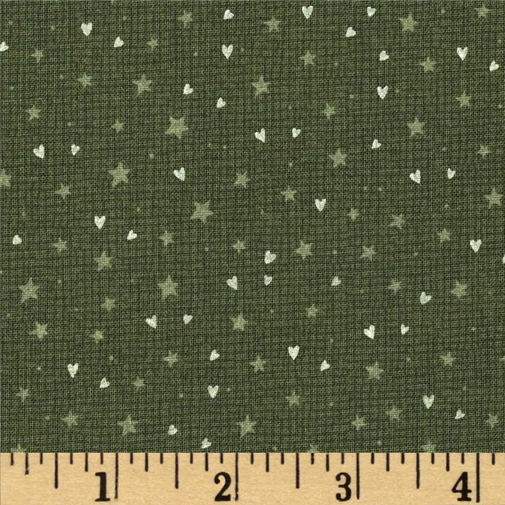 Winter Village Stars & Hearts Green