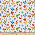 Michael Miller Garden Party Butterfly Free White