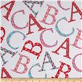 Michael Miller Cynthia Rowley Oh Baby Flannel ABC Toss Pink