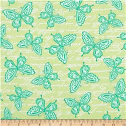 Butterfly Kisses Flannel Butterflies Green