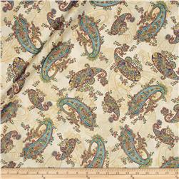 Kaufman La Scala 7 Metallic Large Paisley Ivory