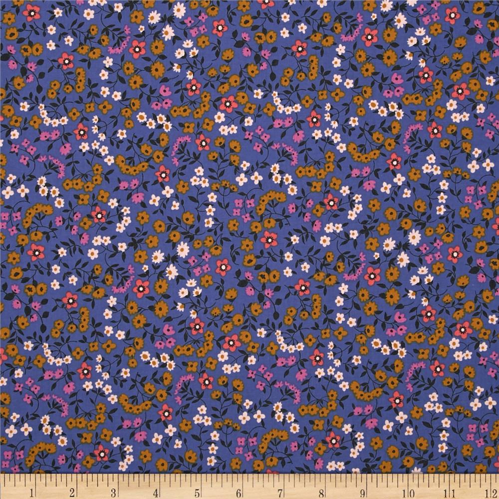 Cotton + Steel Lucky Strikes Clothesline Floral Periwinkle