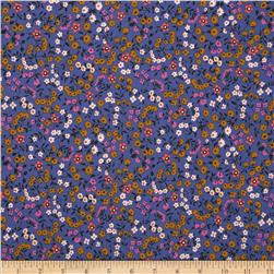 Cotton & Steel Lucky Strikes Clothesline Floral Periwinkle