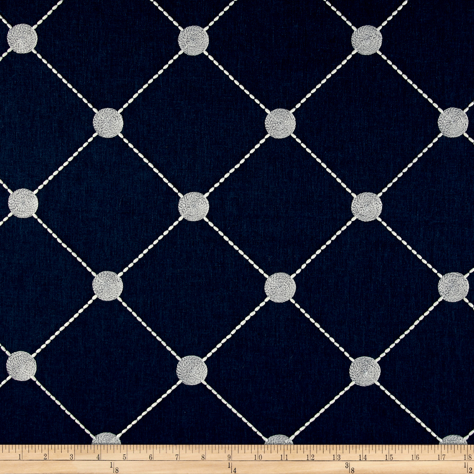 Kelly Ripa Home Fanfare Embroidered Indigo Fabric by Waverly in USA