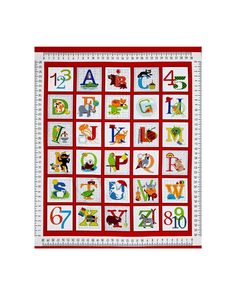 """Fun with ABC's 36"""" Panel Red"""